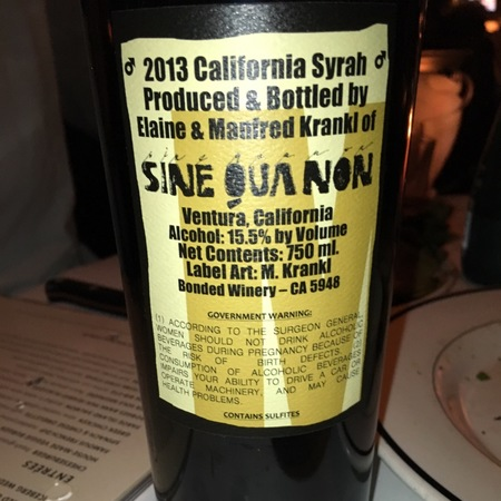 Sine Qua Non Male California Syrah 2013