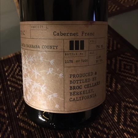 Broc Cellars Santa Barbara County Cabernet Franc 2014
