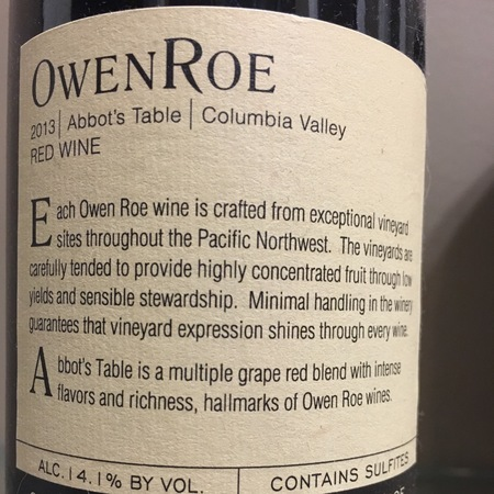 Owen Roe Abbot's Table Columbia Valley Zinfandel Blend 2015