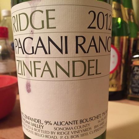 Ridge Vineyards Pagani Ranch Zinfandel Blend 2015