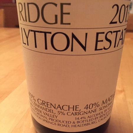 Ridge Vineyards Lytton Estate Grenache Blend 2013