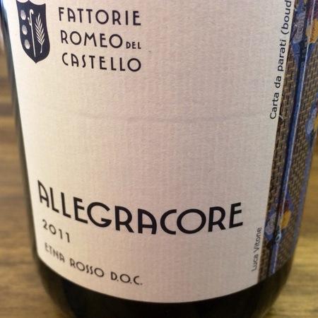 Fattorie Romeo Del Castello Allegracore Etna Rosso DOC Nerello Mascalese-Nerello Cappuccio Blend 2011