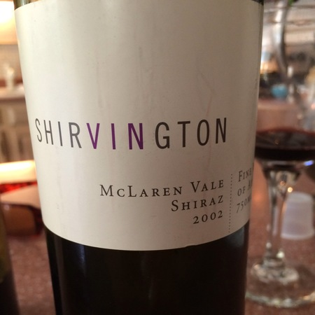 Shirvington McLaren Vale Shiraz 2002