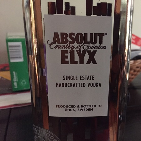Absolut ELYX Single Estate Handcrafted Vodka NV