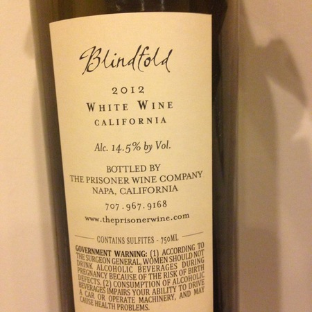 The Prisoner Wine Company Blindfold California Chardonnay Blend 2012