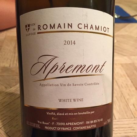 Romain Chamiot Apremont Blanc Vin de Savoie Jacquere 2015