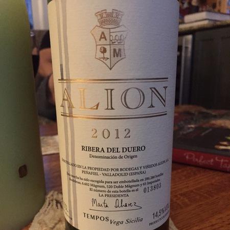 Bodegas y Viñedos Vega Sicilia Alion Ribera del Duero Tinto Fino 2012