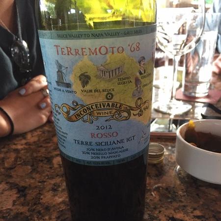 Inconceivable Wine Terremoto '68 Rosso Terre Siciliane Nero d'Avola Blend 2012