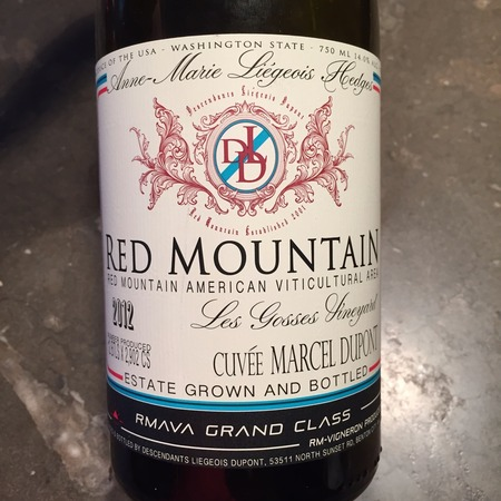 Hedges Family Estate Les Gosses Cuvée Marcel Dupont DLD Red Mountain Syrah 2012