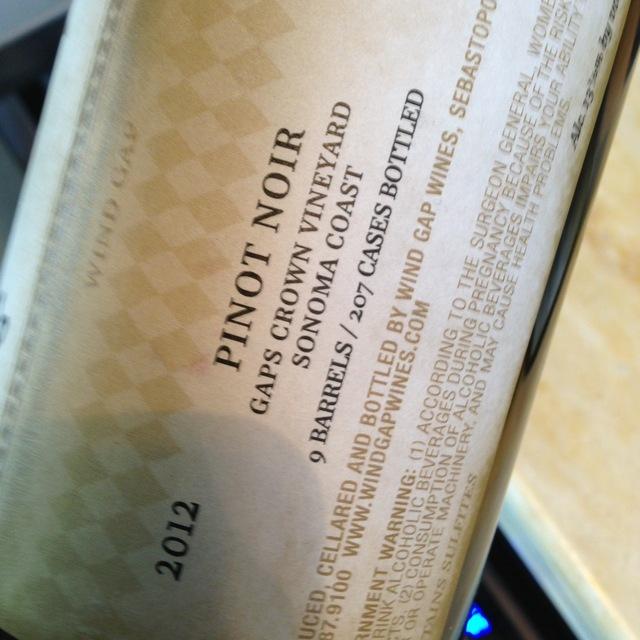 Gap's Crown Vineyard Pinot Noir 2012
