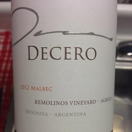 Finca Decero Remolinos Vineyard Malbec 2014