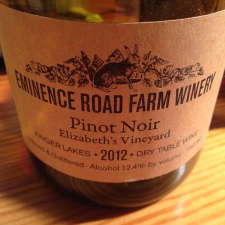 Eminence Road Farm Winery Elizabeth's Vineyard Pinot Noir 2015