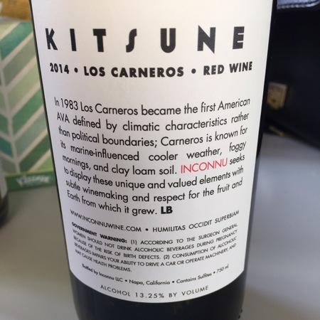 Inconnu Kitsune Los Carneros Red Blend 2014