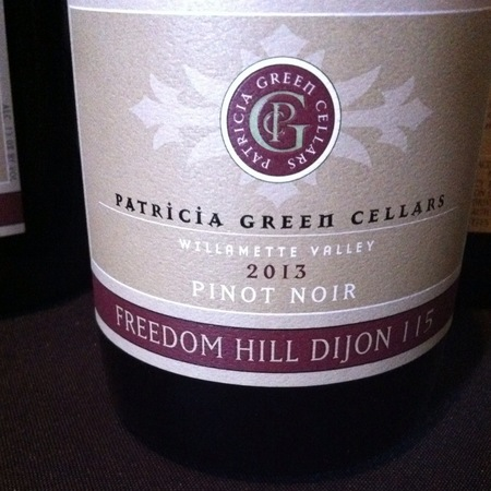 Patricia Green Cellars Freedom Hill Dijon 115 Pinot Noir 2013