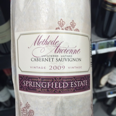 Springfield Estate Methode Ancienne Cabernet Sauvignon 2009