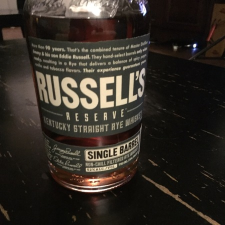 Russell's Reserve Single Barrel Kentucky Straight Rye Whiskey NV