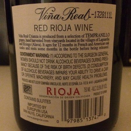 Viña Real (CVNE) Crianza Rioja Tempranillo Blend 2012