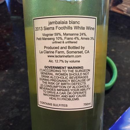 La Clarine Farm Jambalaia Blanc White Blend NV