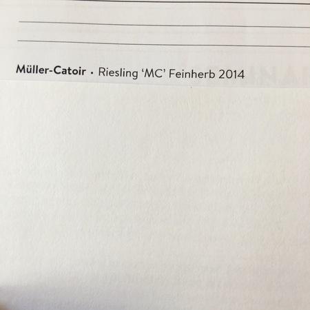Müller-Catoir 'MC' Feinherb Riesling 2014