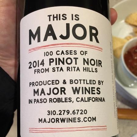 Major Wines Santa Rita Hills Pinot Noir 2015