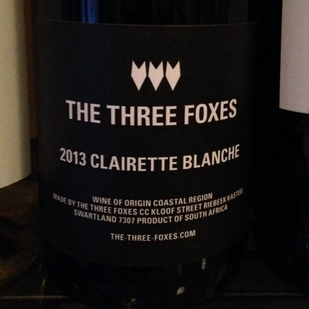 The Three Foxes Clairette Blanche 2013