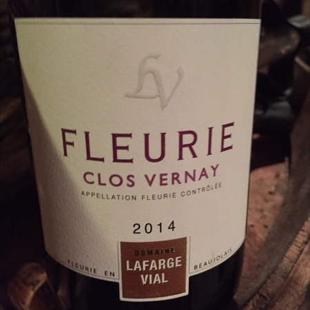 Domaine Lafarge Vial Clos Vernay Fleurie Gamay 2014