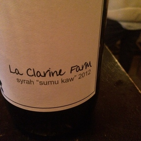 "La Clarine Farm ""Sumu Kaw"" Syrah 2015"