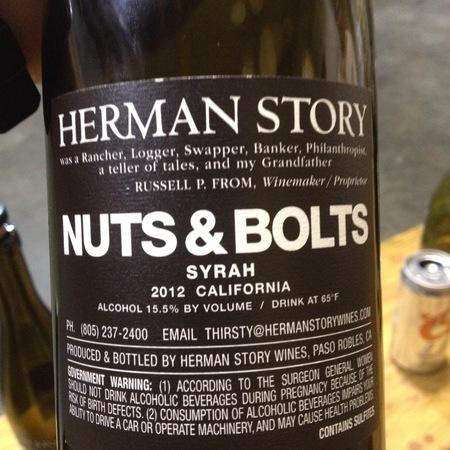 Herman Story Nuts & Bolts California Syrah 2014