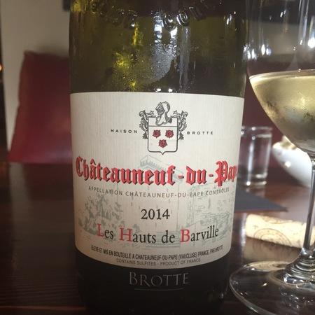 Brotte Les Hauts de Barville Châteauneuf-du-Pape Red Rhone Blend 2015