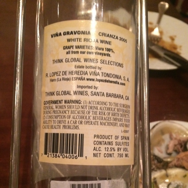 Viña Gravonia Crianza Rioja Viura 2005