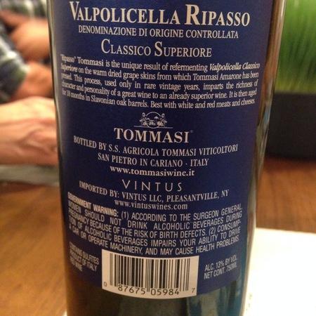 Tommasi Valpolicella Ripasso Classico Superiore Corvina Blend 2012