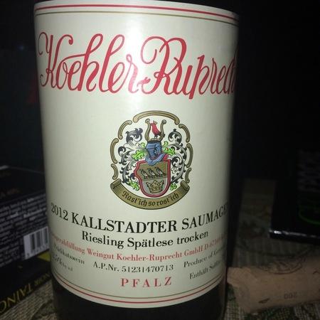Koehler-Ruprecht Kallstadter Saumagen Spätlese Trocken Riesling 2012