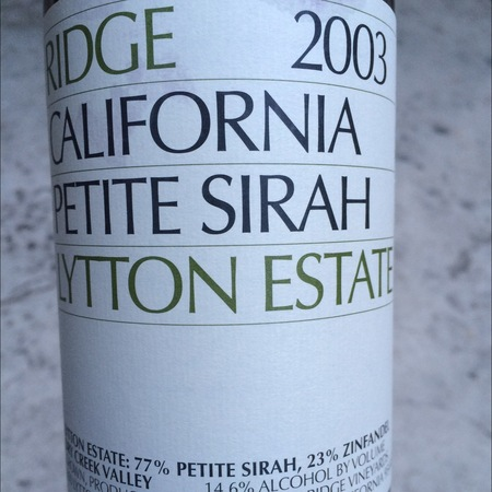 Ridge Vineyards Lytton Estate California Petite Sirah 2014