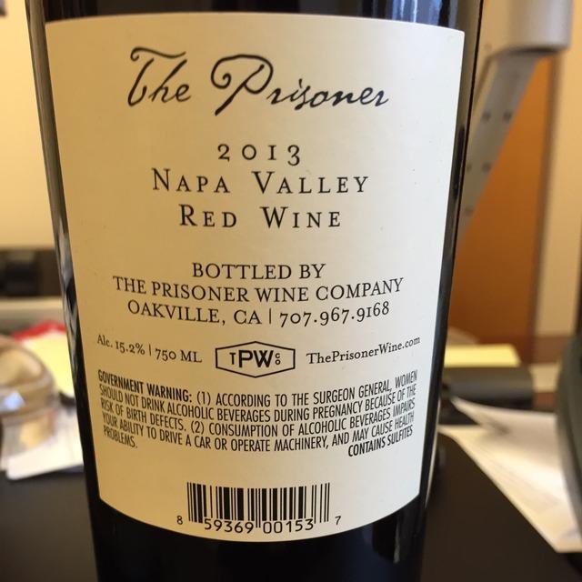 The Prisoner Napa Valley Zinfandel Blend 2014