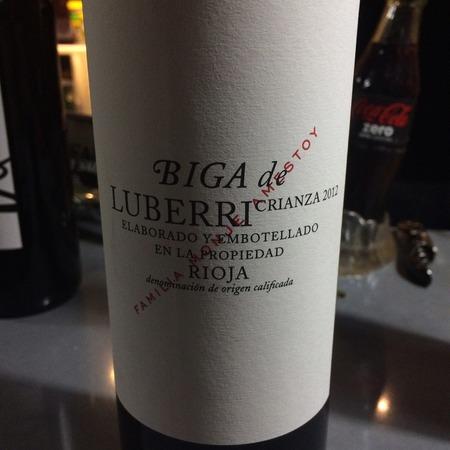 Luberri (Monje Amestoy) Biga de Luberri Crianza Rioja Tempranillo Blend 2012