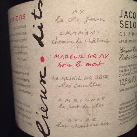 Jacques Selosse Lieux Dits Mareuil Sur Aÿ Sous Le Mont Extra Brut Grand Cru Champagne Blend NV