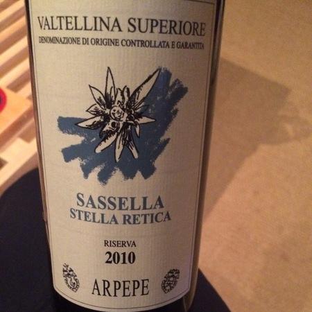 ARPEPE Stella Retica Riserva Sassella Valtellina Superiore Nebbiolo 2010