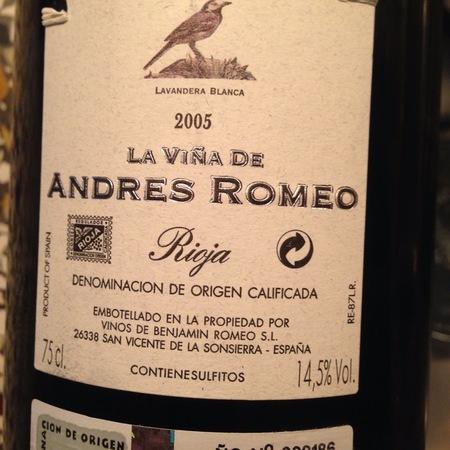 Benjamin Romeo Liende Rioja La Vina De Andres Tempranillo Blend 2005