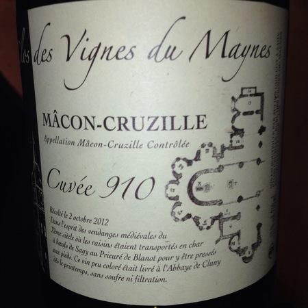 Domaine Des Vignes du Maynes (Julien Guillot) Cuvée 910 Clos des Vignes du Maynes Mâcon-Cruzille Pinot Noir 2016 (1500ml)