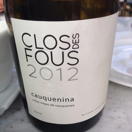 Clos des Fous Cauquenina Itata valley Vinas Viejas Malbec Blend 2012