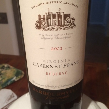 Barboursville Vineyards Reserve Virginia Cabernet Franc 2015
