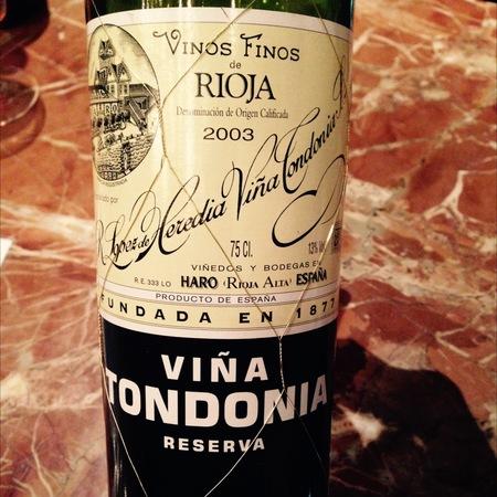 R. López de Heredia Viña Tondonia Reserva Rioja Tempranillo Blend 2003