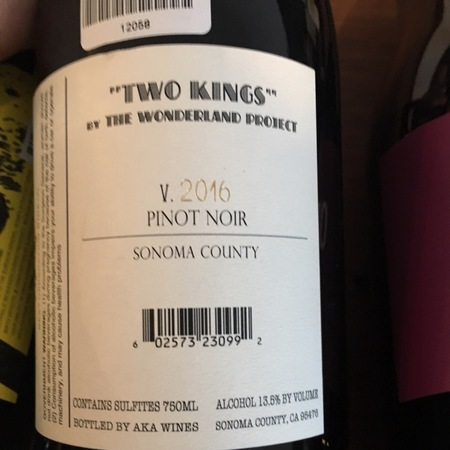 The Wonderland Project  Two Kings Sonoma County Pinot Noir 2016