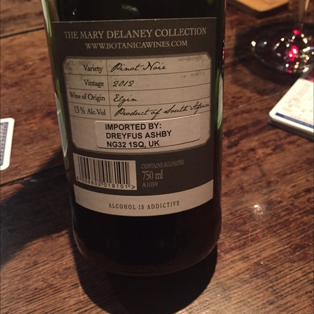 Botanica Wine The Mary Delaney Collection Elgin Pinot Noir  2015