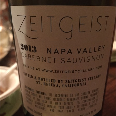 Zeitgeist Cellars Napa Valley Cabernet Sauvignon 2013 (750ml 6bottle)