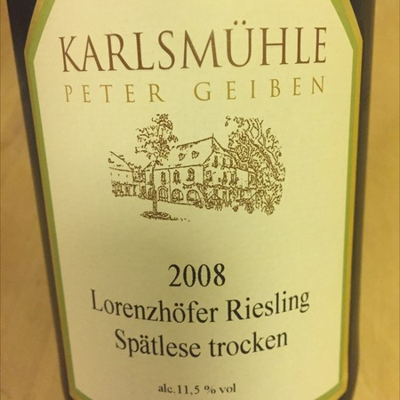 Weingut Karlsmühle Lorenzhöfer Spätlese Trocken Riesling 2008