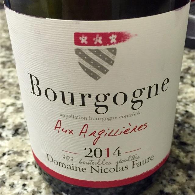 Aux Argillieres Bourgogne Pinot Noir  2014