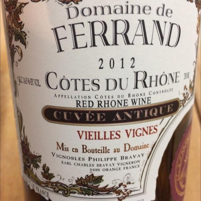 Cuvée Antique Vieilles Vignes Côtes du Rhône Red Rhone Blend 2012