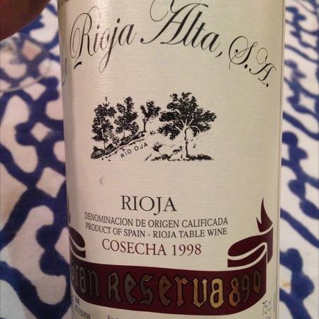 La Rioja Alta Gran Reserva 890 Rioja Tempranillo Blend 1998
