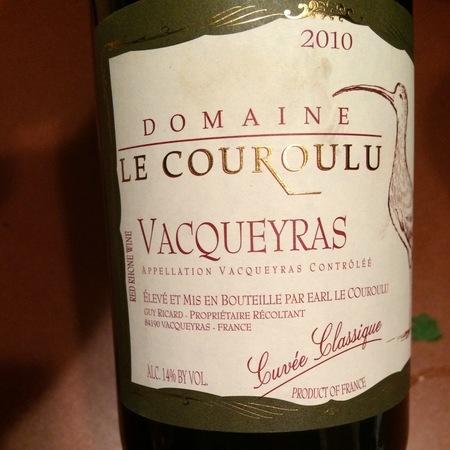Domaine Le Couroulu Cuvée Classique Vacqueyras Red Rhone Blend 2013